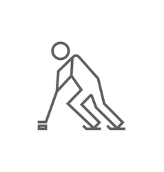 Hockey player line icon vector