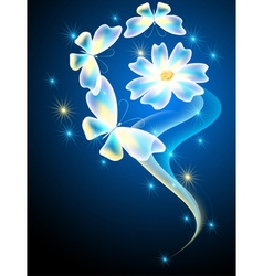 Neon butterflies and flower vector image