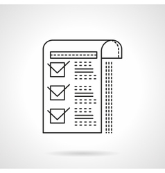Paper with checkboxes flat line icon vector