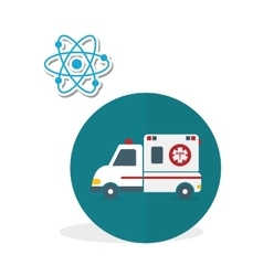 Medical care design ambulance icon white vector