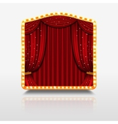 Stage curtain in shining banner with golden frame vector