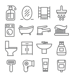 Bathroom line icons vector image