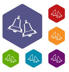 Bells icons set hexagon vector