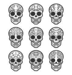 Calavera or sugar skull tattoo set vector