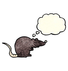 Cartoon black rat with thought bubble vector
