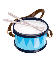 Cartoon drum on a white background toy musical vector