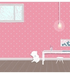 Children room pink background design vector image
