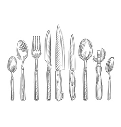Cooking hand-drawn set of kitchen tools - spoon vector