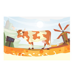 Cute cow with milk river vector