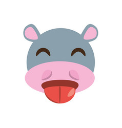 Cute face hippo animal cheerful vector