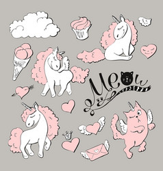 cute princess sticker set with unicorn vector image vector image
