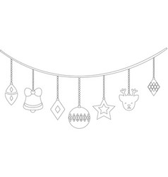 dotted shape differents balls hanging to christmas vector image