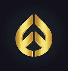 Droplet shape design gold logo vector