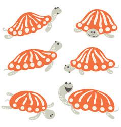 earthen turtle icon set vector image