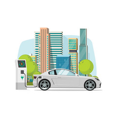 electric car charging from charger station near vector image vector image
