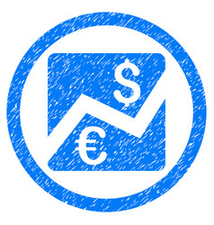 Forex chart rounded icon rubber stamp vector