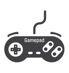 gamepad solid icon console and joystick vector image