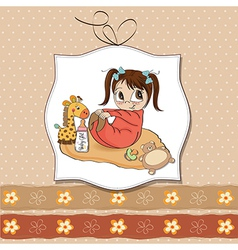 little baby girl play with her toys vector image vector image