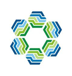 Logo design hexagon star zigzag icon symbol vector