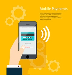 Mobile payments man holding phone of moder vector