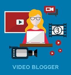 Online video blog design concept set with blogger vector image
