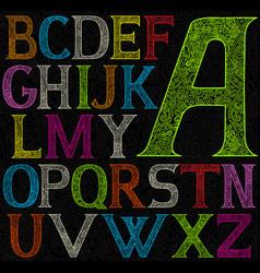psychedelic acid color alphabet vector image vector image