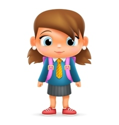 Realistic school girl child cartoon education vector
