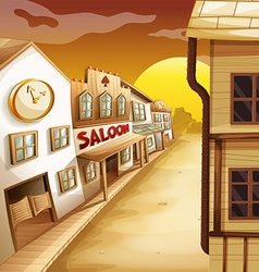 Scene with western style houses along the road vector