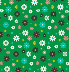 Seamless Flowers Pattern Flat Design Flower Set on vector image vector image