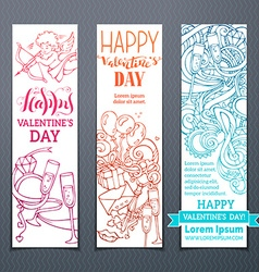 Set of colourful outlined valentines banners vector