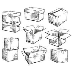 set of doodle cardboard boxes vector image