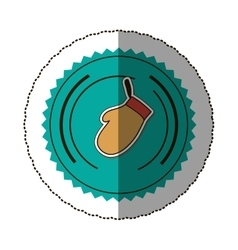 Sticker color round frame with oven mitts vector