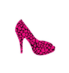 Stiletto with hearts vector