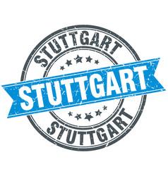 Stuttgart blue round grunge vintage ribbon stamp vector