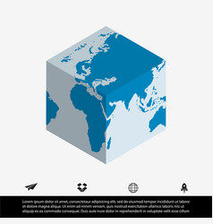 world map and cube vector image