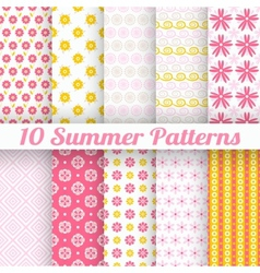 10 Light summer seamless patterns tiling Fond pink vector image vector image