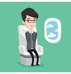 Young man suffering from fear of flying vector