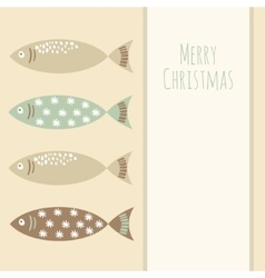 Christmas retro greeting card with fish vector