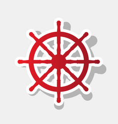 ship wheel sign  new year reddish icon vector image