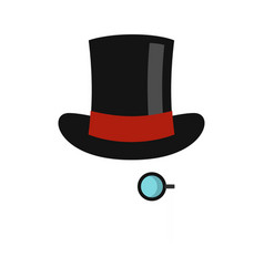 hat with monocle icon flat style vector image