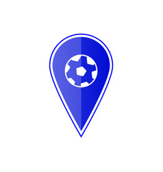 Blue map pointer with soccer ball vector