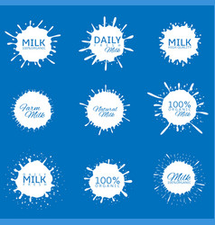 Milk splash set vector