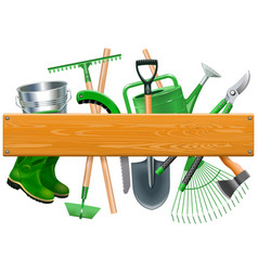 Wooden board with garden tools vector