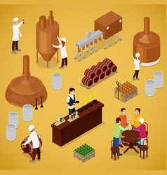 Isometric brewery beer production with workers vector