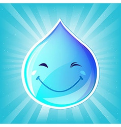 Smiling drop of water and sunburst vector