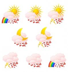 Valentine's weather icons vector image