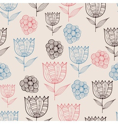 Seamless Doodle Floral Pattern vector image