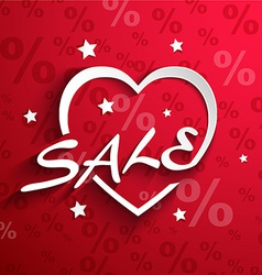 Sale poster paper heart shape with word sale stars vector