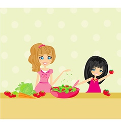 Two smiling kids mixing salad vector