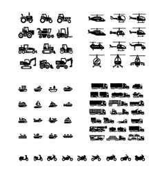 Set icons of transport vector